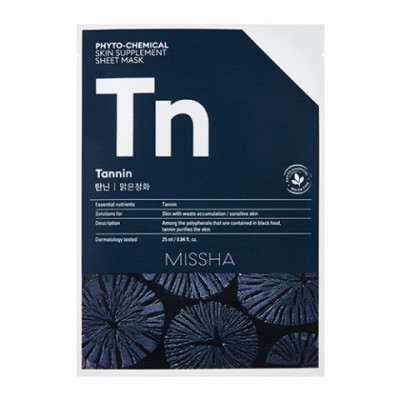 Маска тканевая с древесным углем MISSHA Phytochemical Skin Supplement Sheet Mask Tannin/Purifying: фото