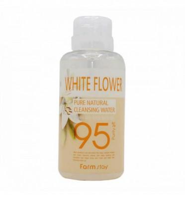 Очищающая вода с экстрактами белых цветов FarmStay Pure Natural Cleansing Water White Flower 500мл: фото