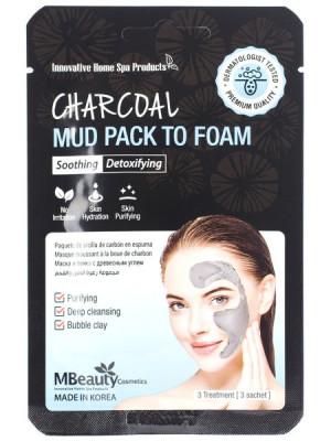 Глиняная маска-пенка для лица с древесным углем MBEAUTY CHARCOAL MUD PACK TO FOAM, 7мл х 3шт: фото
