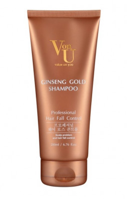 Шампунь для волос с экстрактом золотого женьшеня Von U Ginseng Gold Shampoo 200 мл: фото