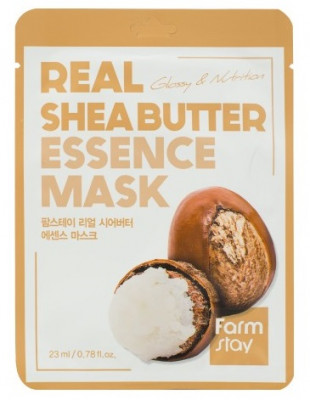 Тканевая маска для лица с маслом Ши FarmStay REAL SHEA BUTTER ESSENCE MASK 23мл: фото
