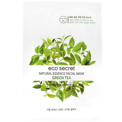 Тканевая маска для лица с Зеленым чаем Eco Secret Natural Essence Facial Mask Green Tea 20 мл: фото